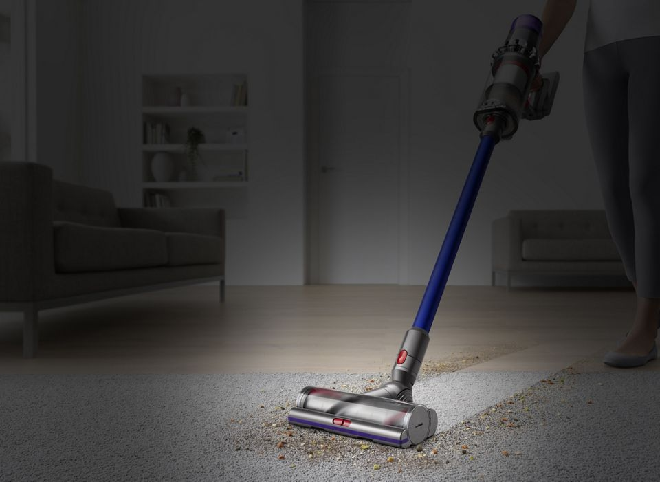 Dyson V11 Absolute vacuum side view cleaning carpet