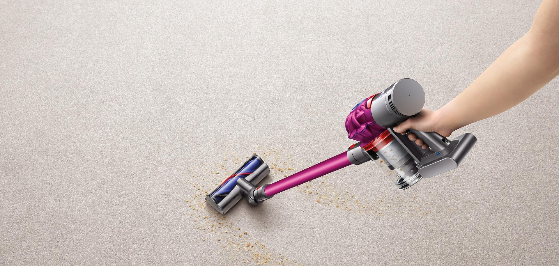 Dyson cord-free vacuum on carpet