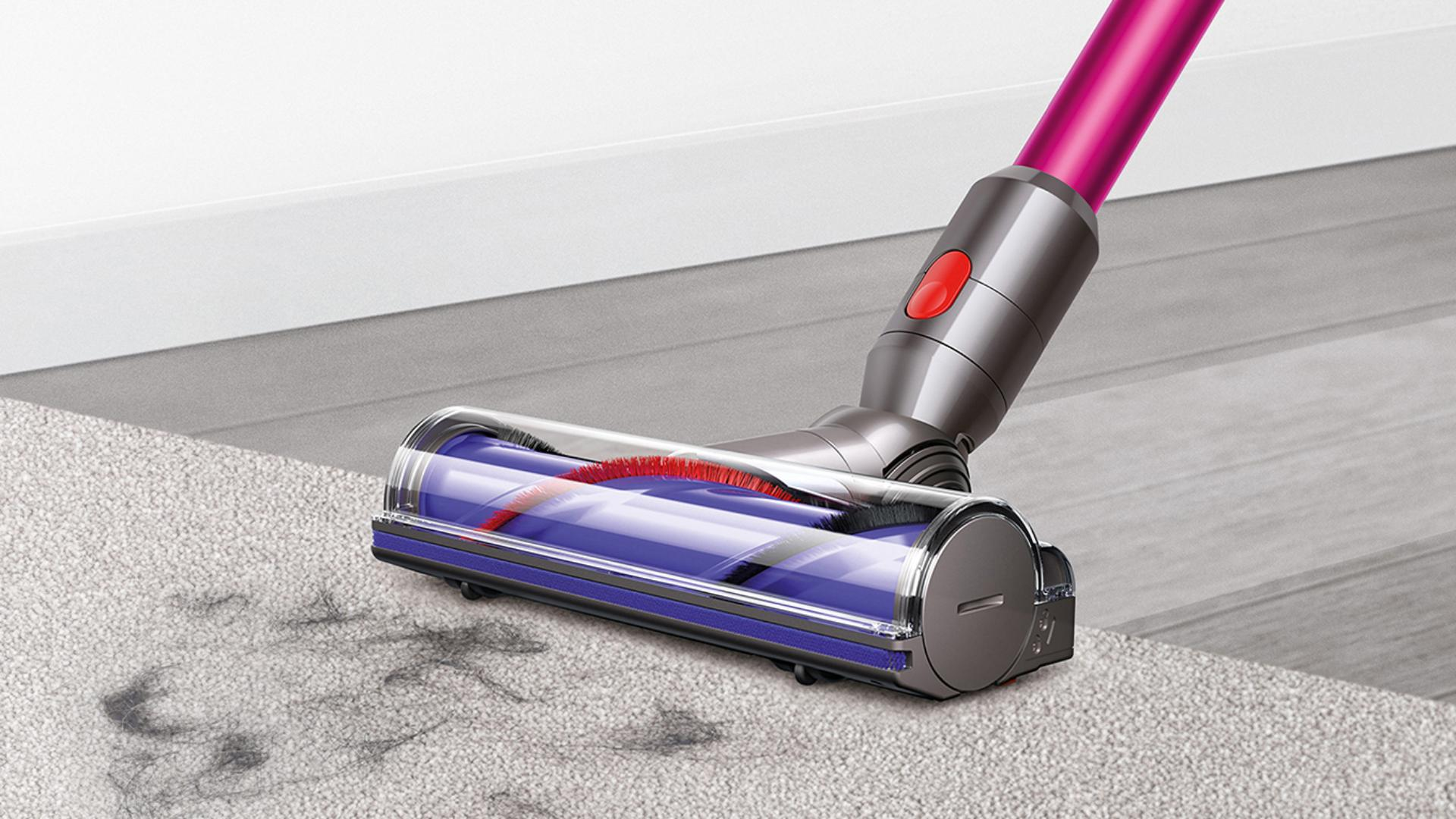 Direct drive cleaner head cleaning across carpet and hard floor.