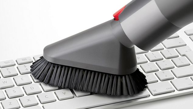Soft dusting brush on computer keyboard