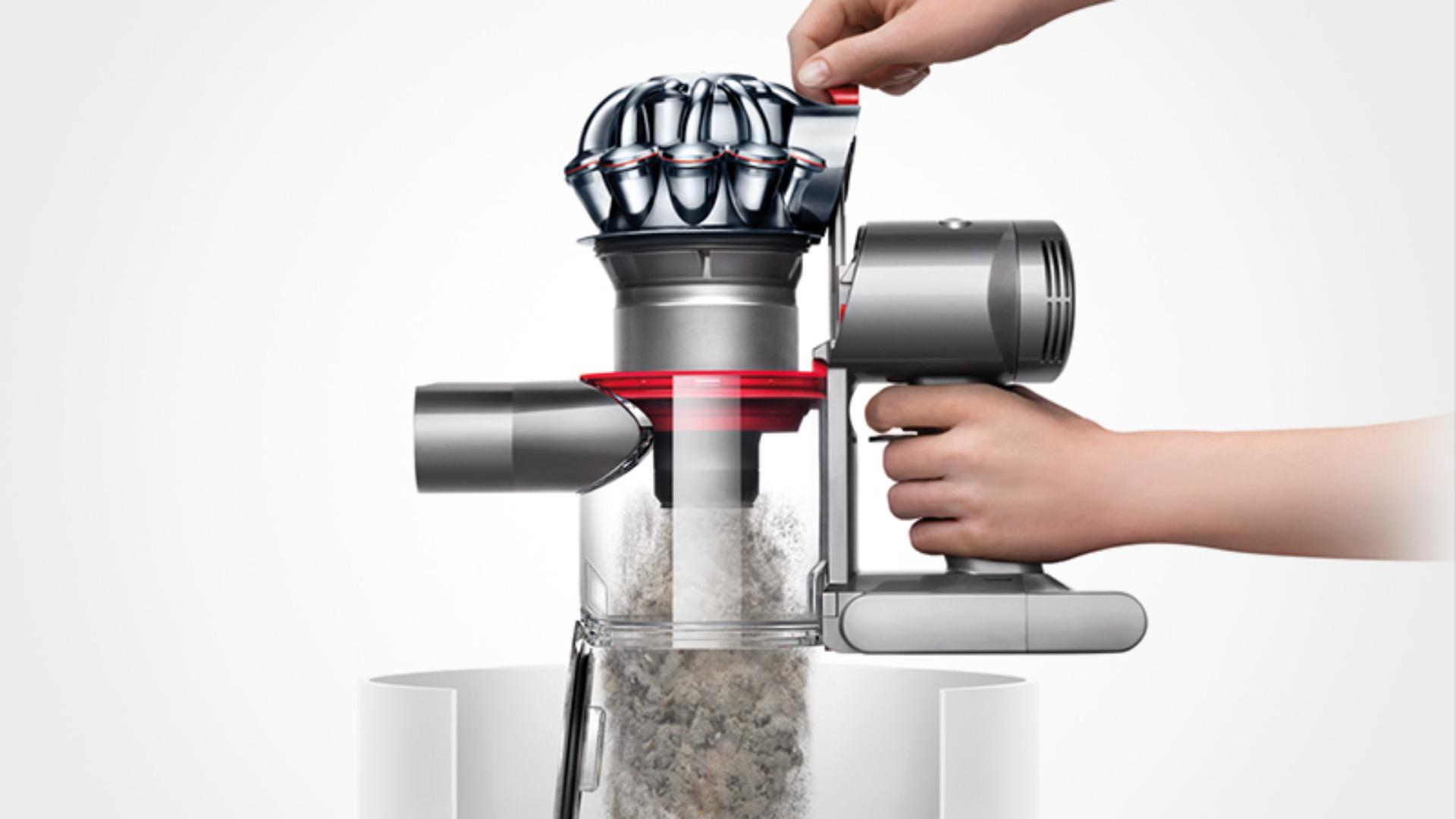 See the Dyson V8 Absolute vacuum's no-touch bin emptying mechanism.