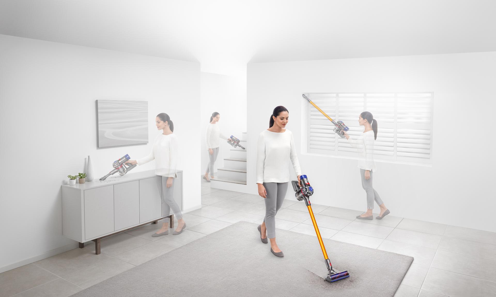 Woman demonstrating cord-free cleaning around the home