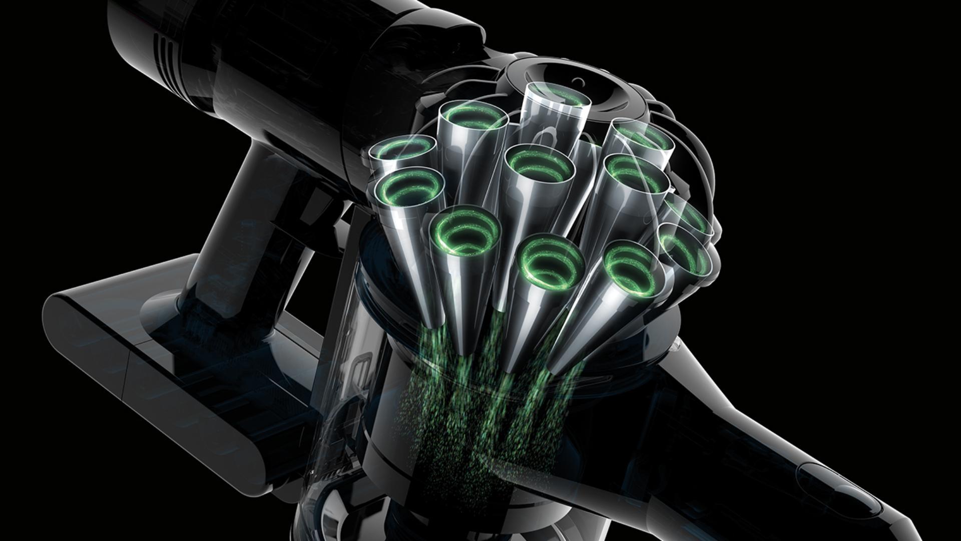A Dyson V8 vezeték nélküli porszívó ciklonjainak szemléltetése