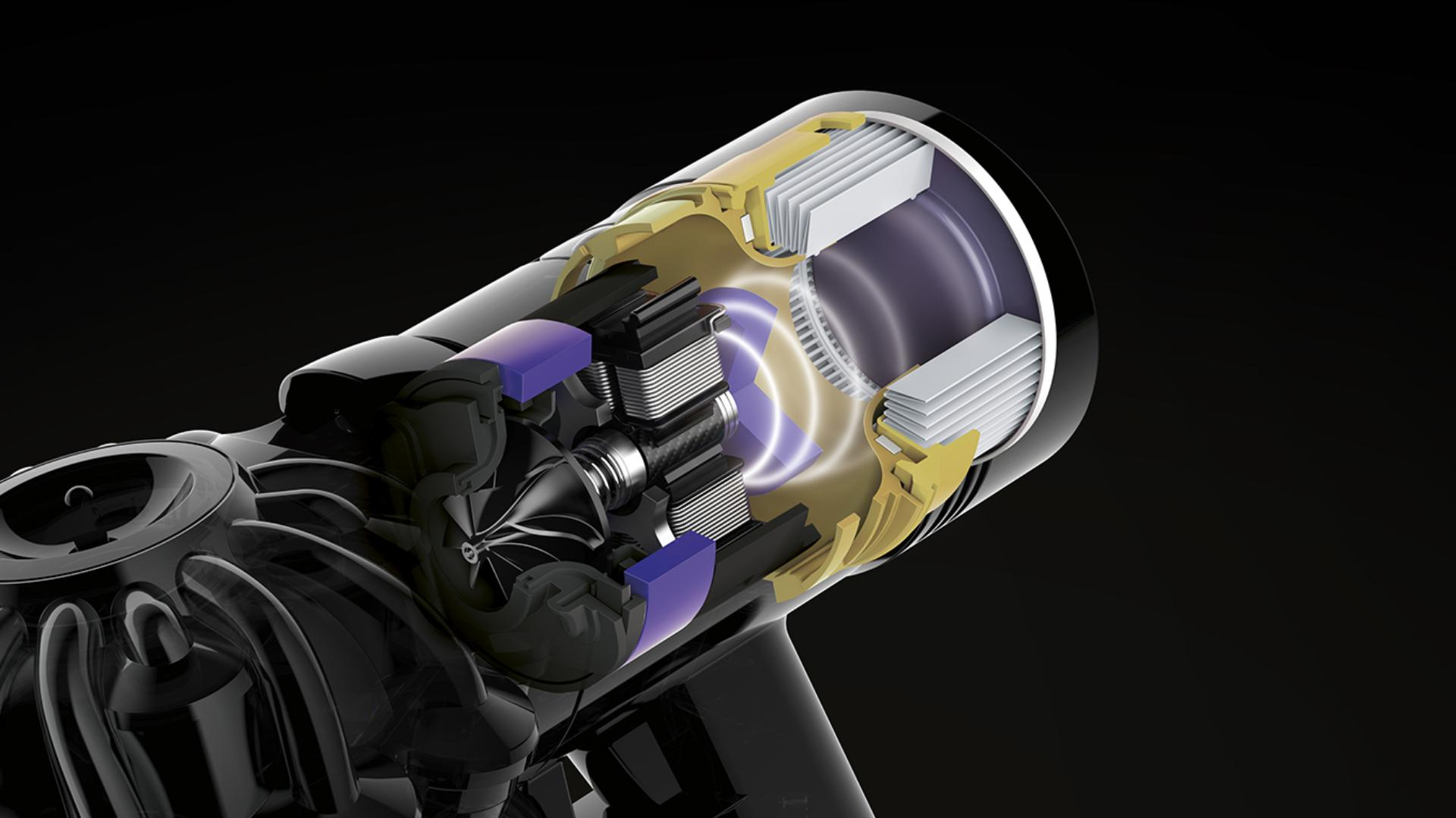 Illustration of Dyson V8 cord-free vacuum cleaner's advanced accoustic control.