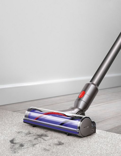 The Dyson V8 Absolute vacuum cleaner has a soft roller cleaner head for hard floors and a motorized cleaner head to remove dirt from carpets.