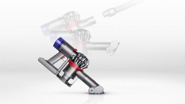 The Dyson V8 Absolute vacuum cleaner transforms to a handheld in one click.