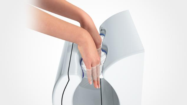 Hands in Dyson Airblade dB hand dryer