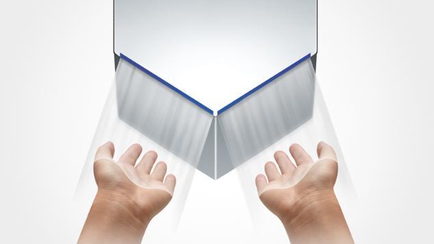 Hands under Airblade V hand dryer
