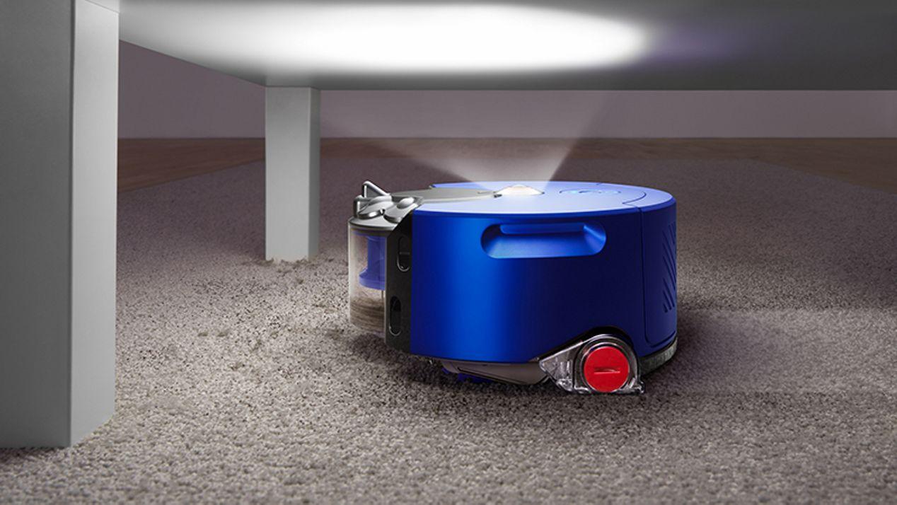 Robot shining light in a dark place