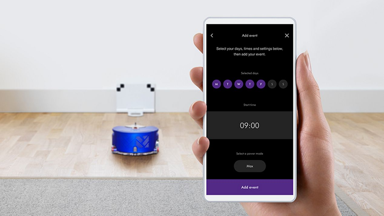 Close up of the Dyson Link app on a phone screen