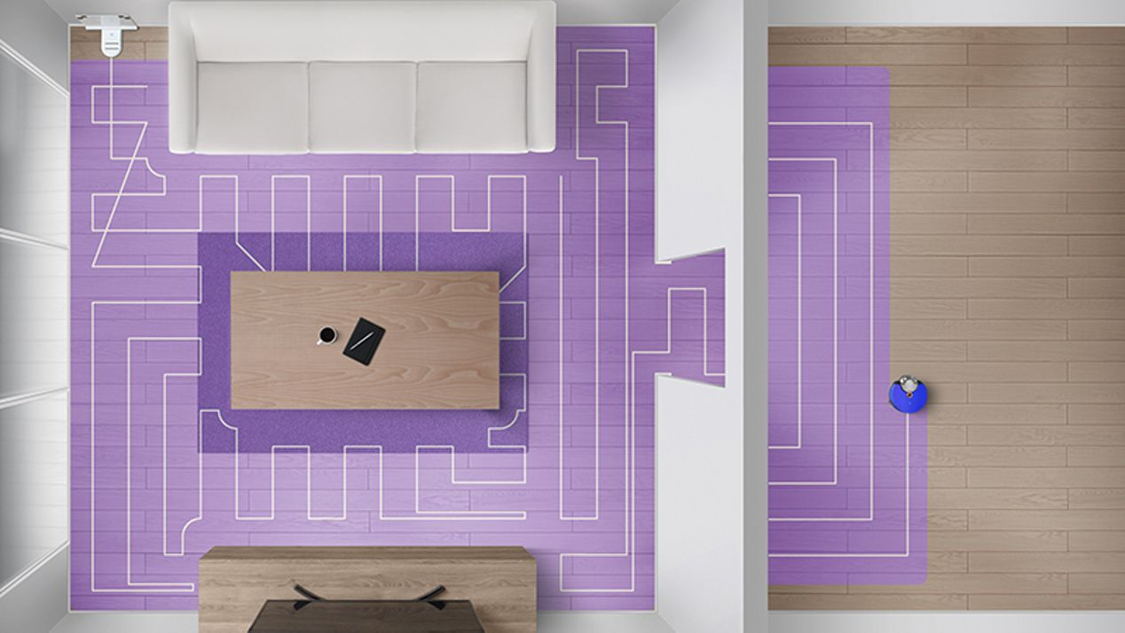 Aerial shot portraying how the robot maps the home