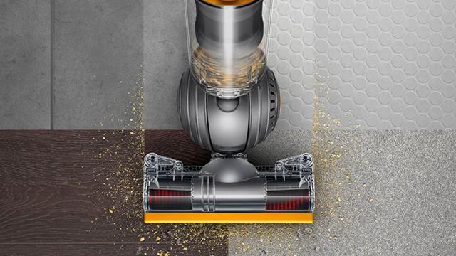 Aerial view of Dyson Ball Multifloor vacuum cleaner across multiple floor types