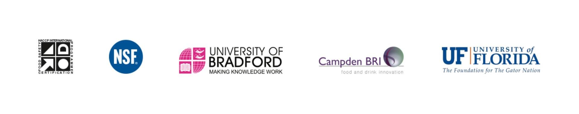 Logos of the HACCP and NSF certifications, University of Bradford, University of Florida and Campden BRI