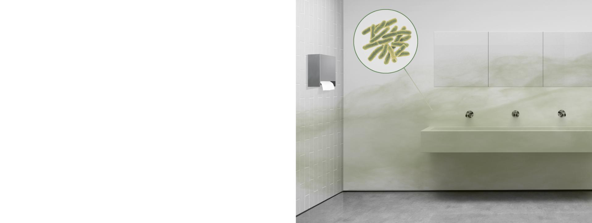 Una partícula bacteriana dentro de un baño