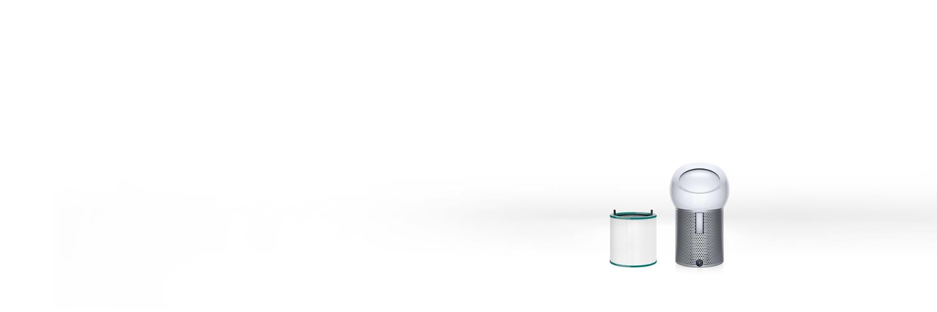 A Dyson purifier range in a row including a filter