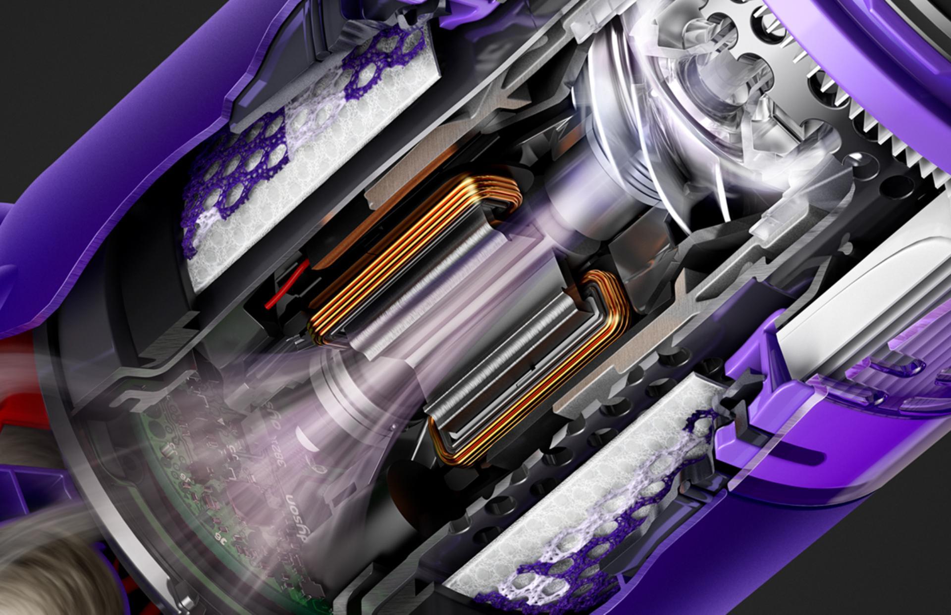 Cutaway diagram of Dyson Hyperdymium™ motor.
