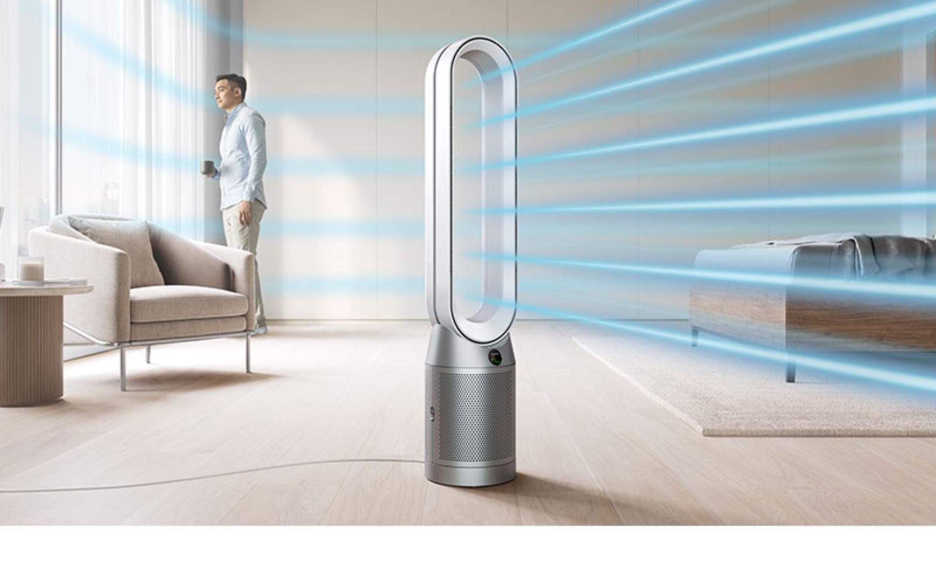 Dyson purifier humidifier in a living space