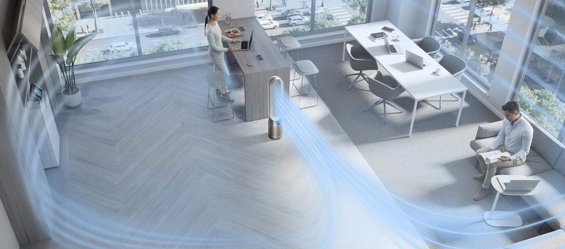 Dyson HEPA Cool Formaldehyde tower fan projecting purified air around an open-plan office