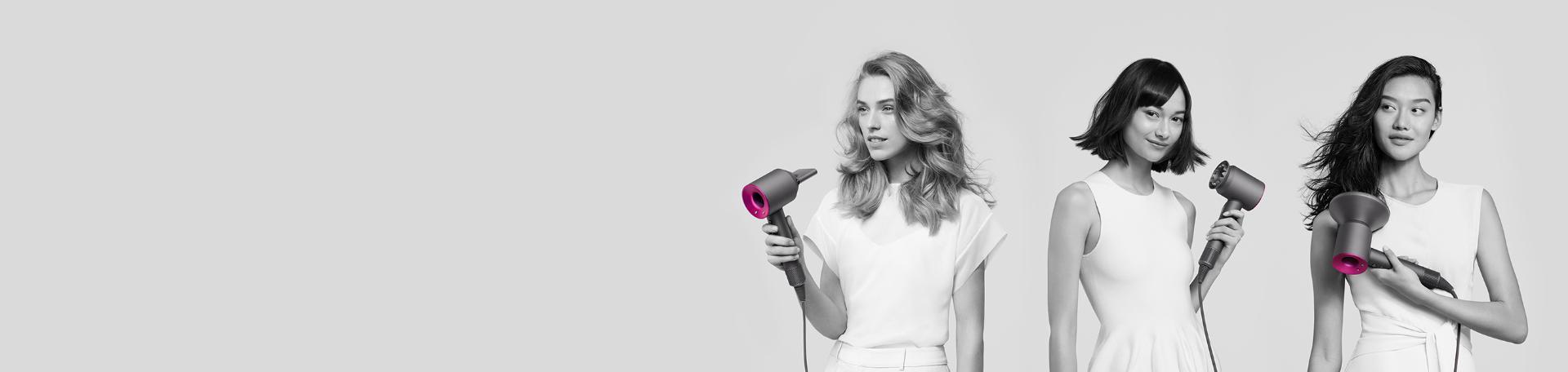 Trzy kobiety używające Dyson Supersonic do stylizacji różnych rodzajów włosów