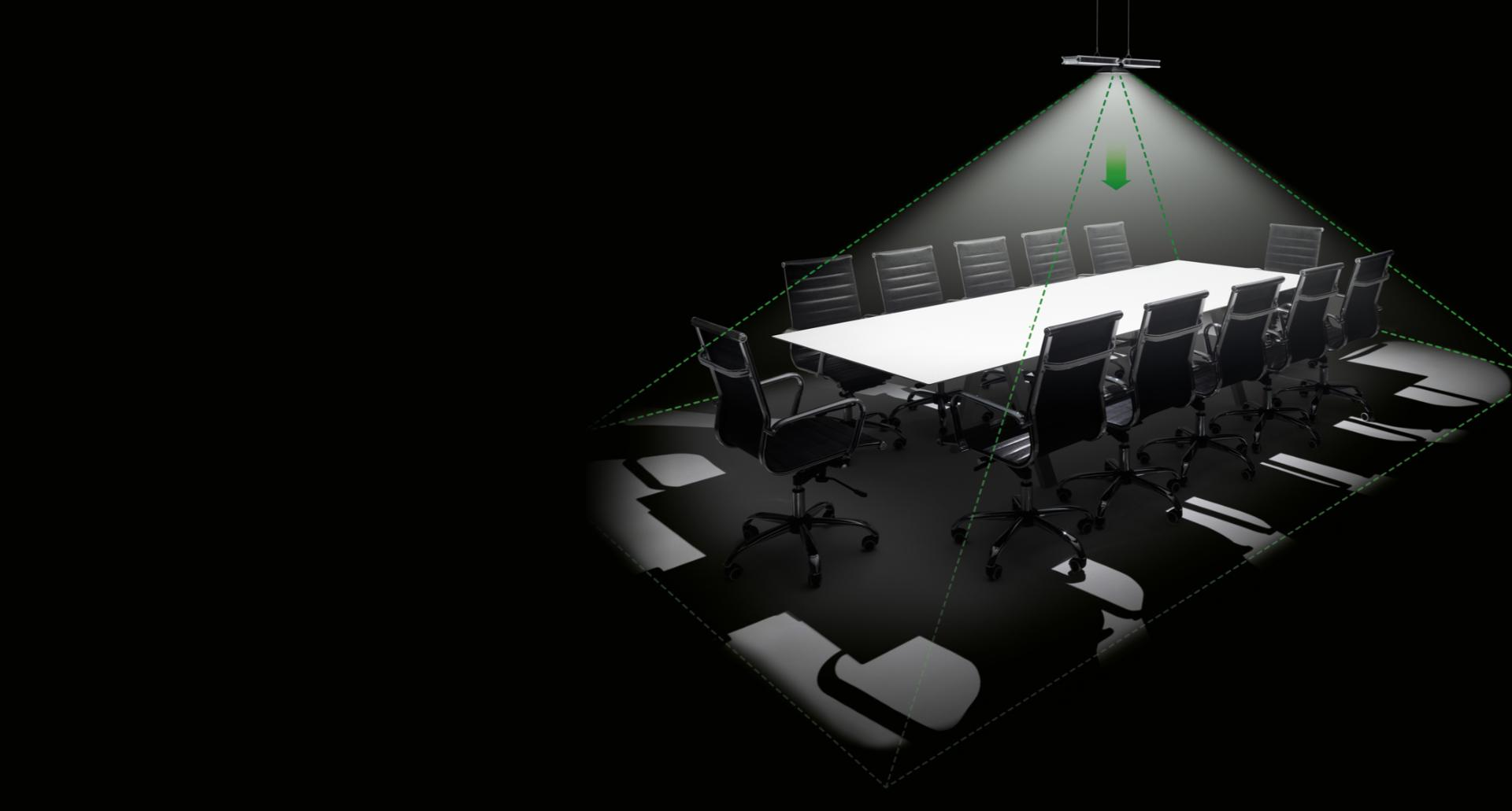 Dyson Cu-Beam Down light with targeted pyramid of light on boardroom table