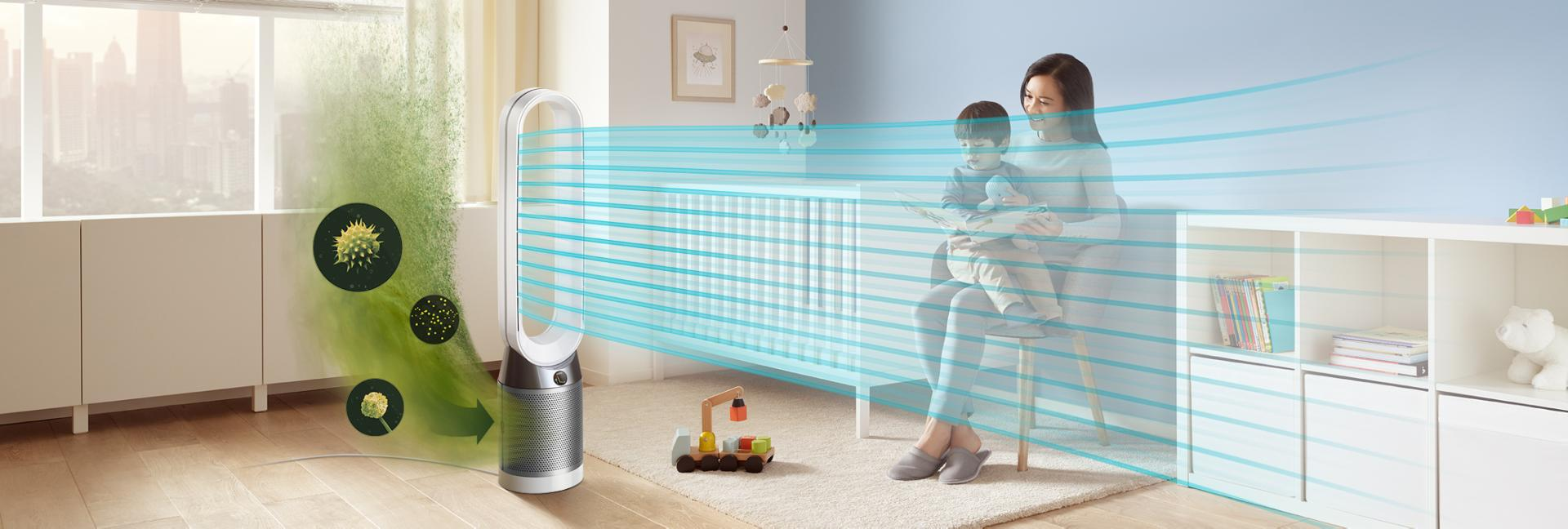 Dyson Pure Cool™ Advanced Technology Tower air flow in a room.