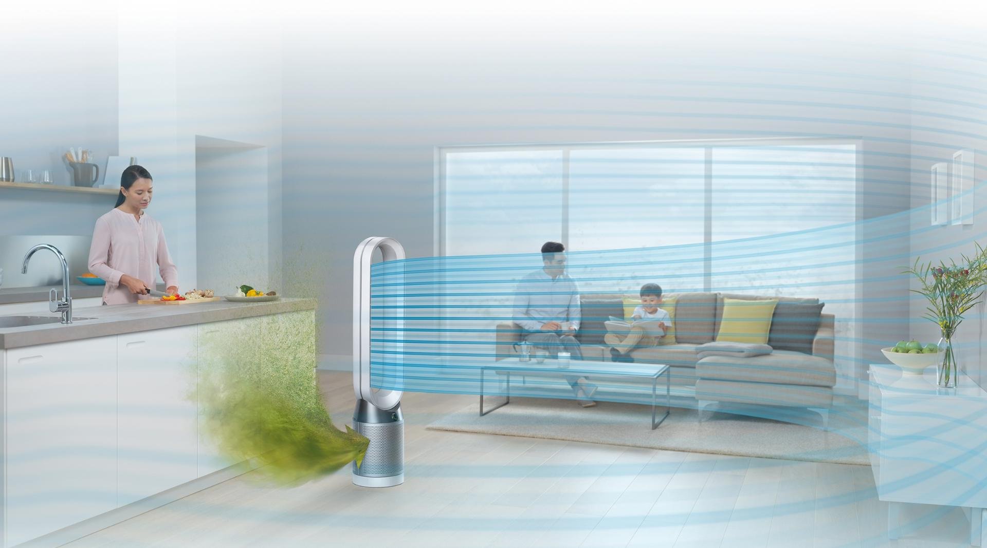 Family room using Dyson Pure Cool™ purifying fan