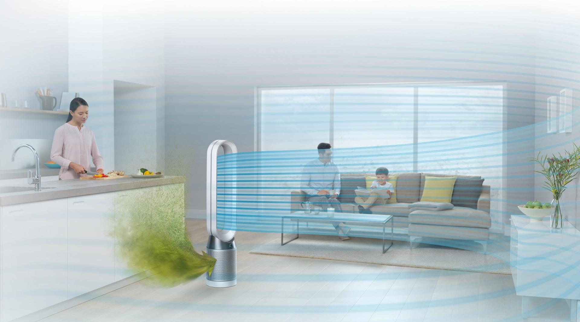 dyson pure cool purifies the whole room