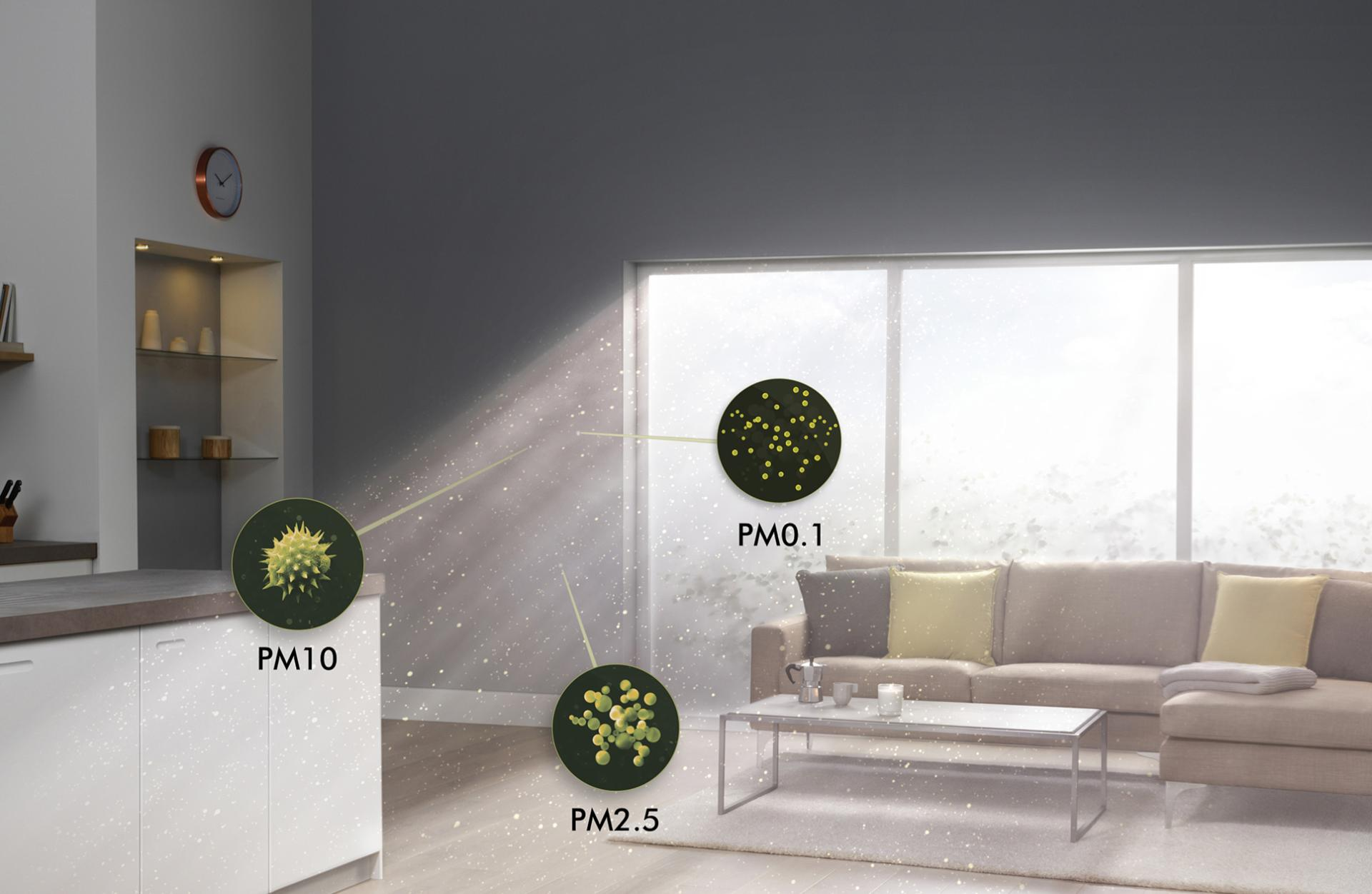 Close-up of allergens in family home