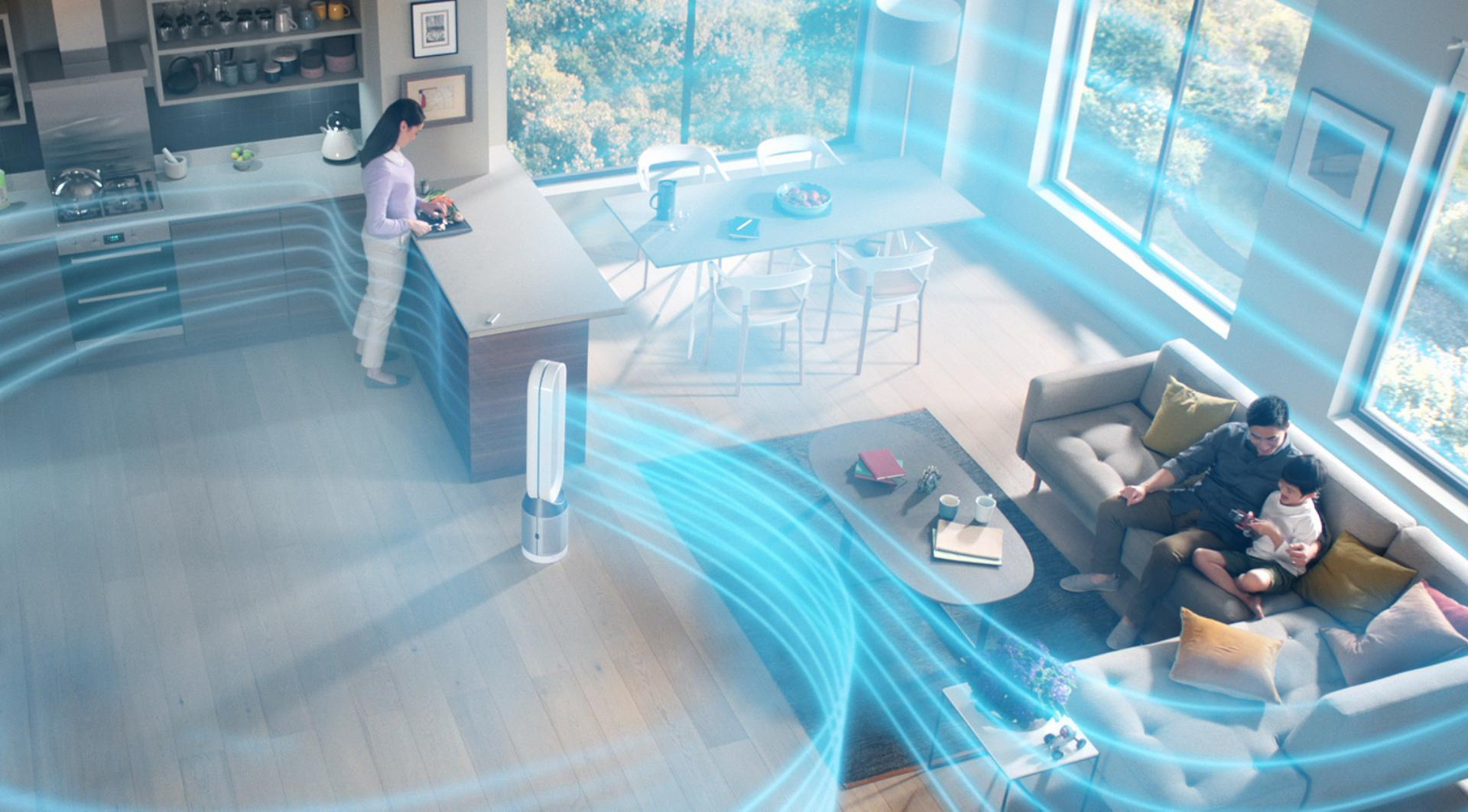 Video demonstration of airflow around the home from a Dyson Pure Cool™ purifying fan