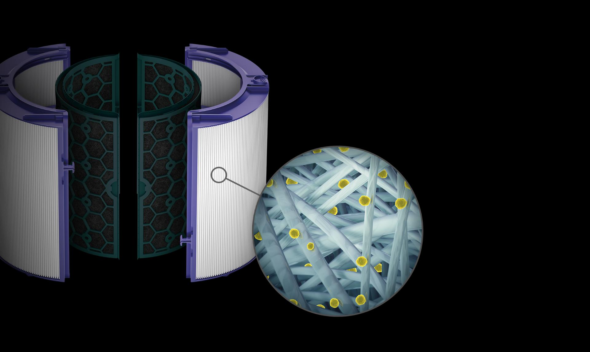 Close-up of borosilicate microfibres in HEPA filter