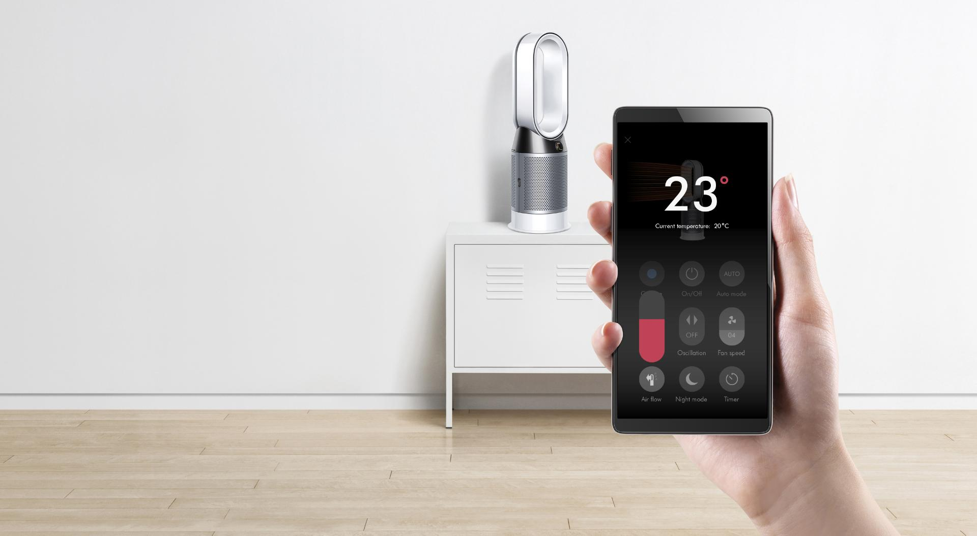 Selecting temperature on the Dyson Link app
