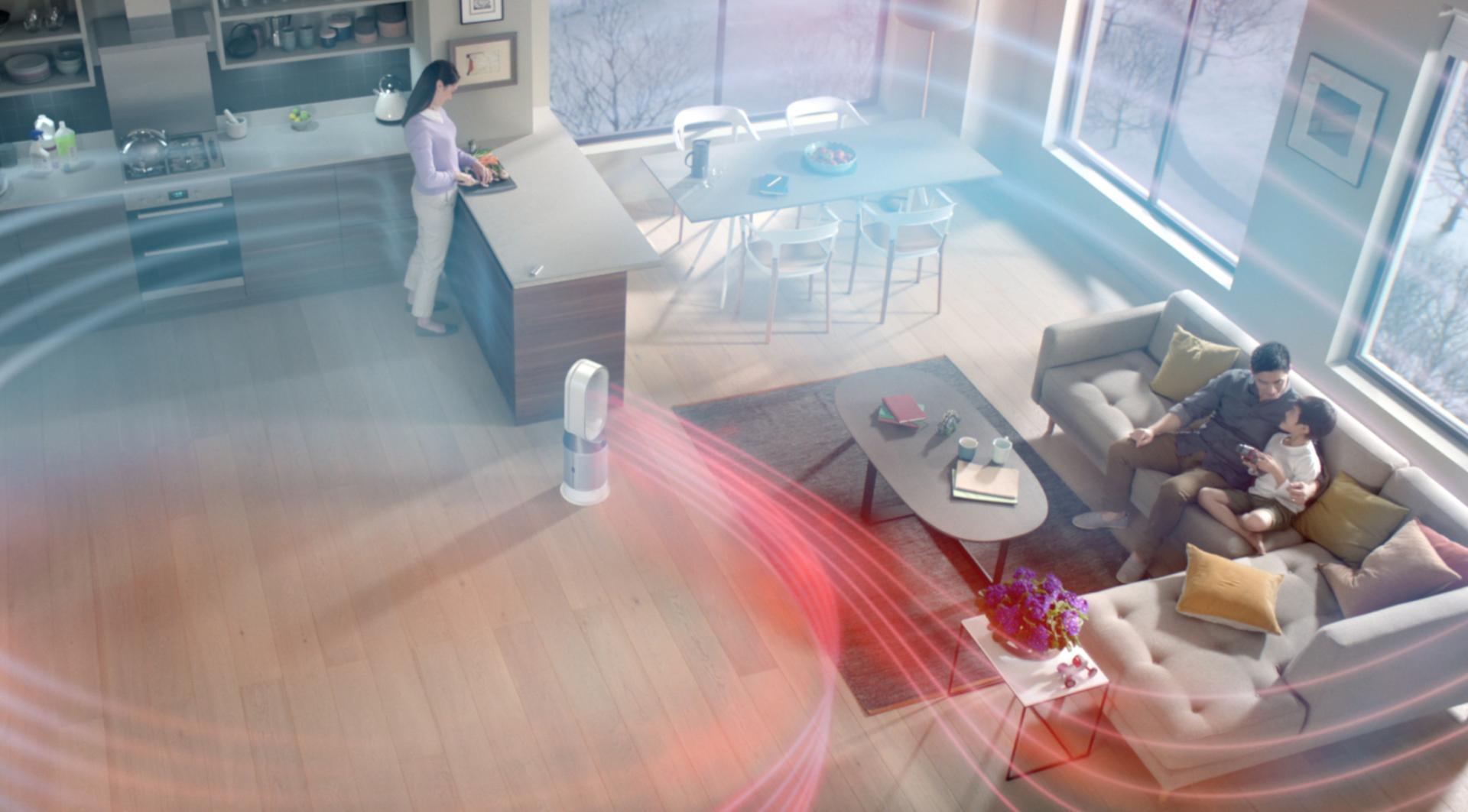 Evde Dyson Dyson Pure Hot+Cool Havayı Temizleyen Fan kullanımı