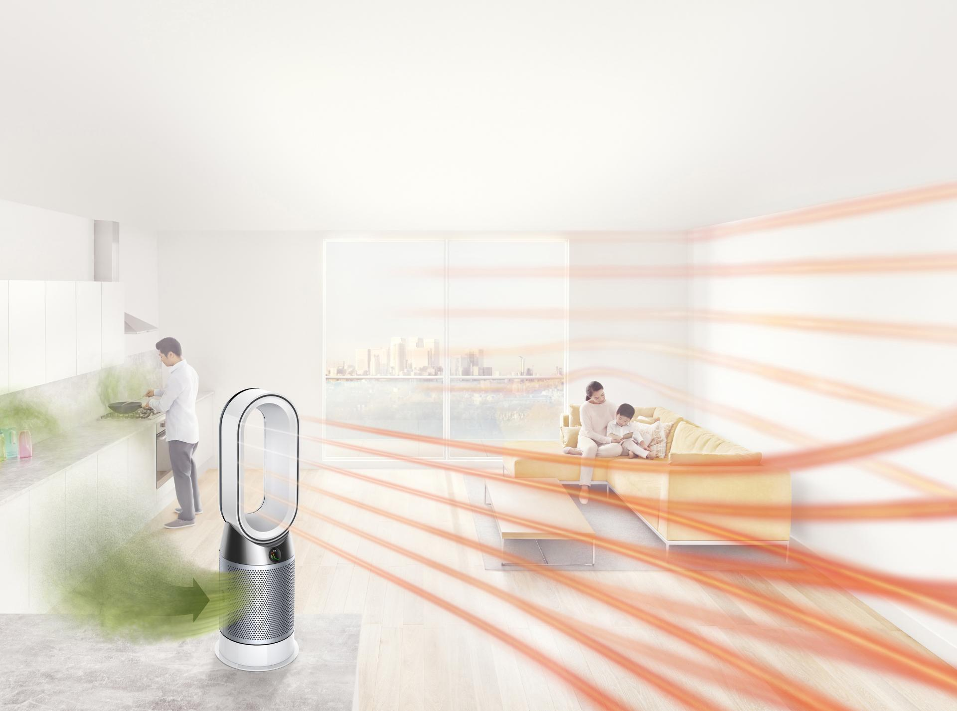 Dyson Pure Hot+Cool purifier being used indoors