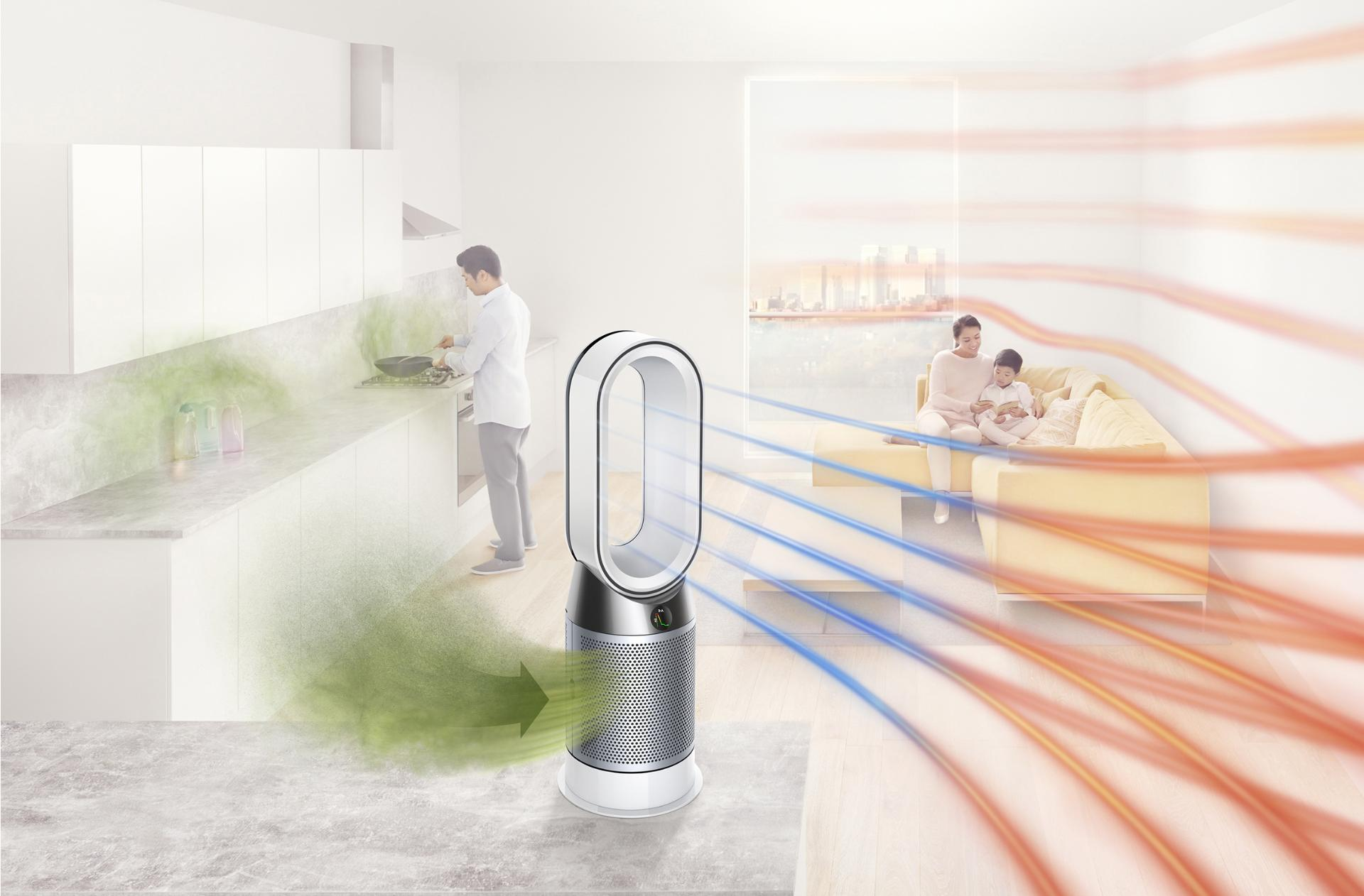 Dyson purifying fan heater capturing pollutants and projecting purified airflow throughout a room
