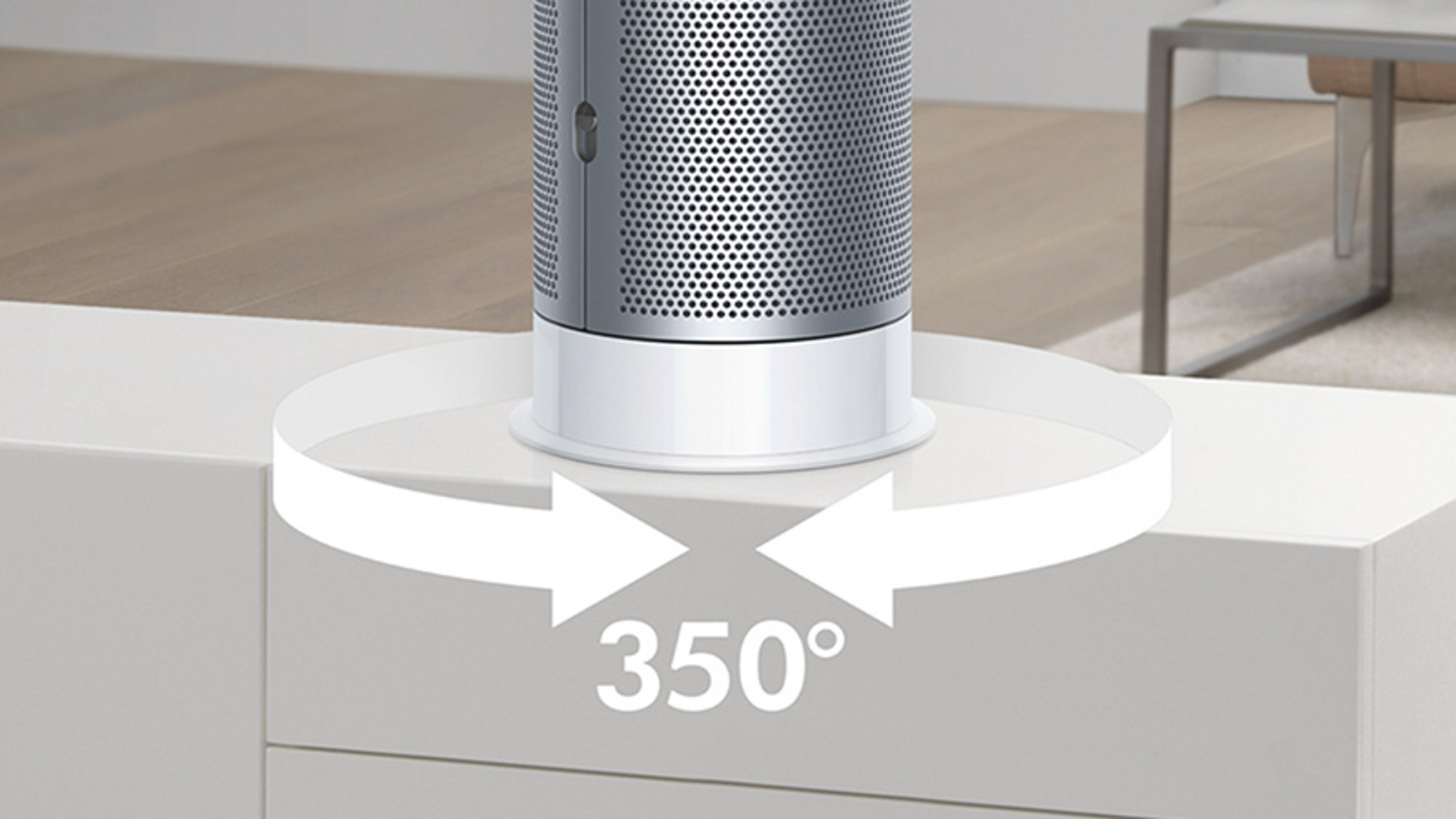 Shows air being purified around the room, with oscillation mode