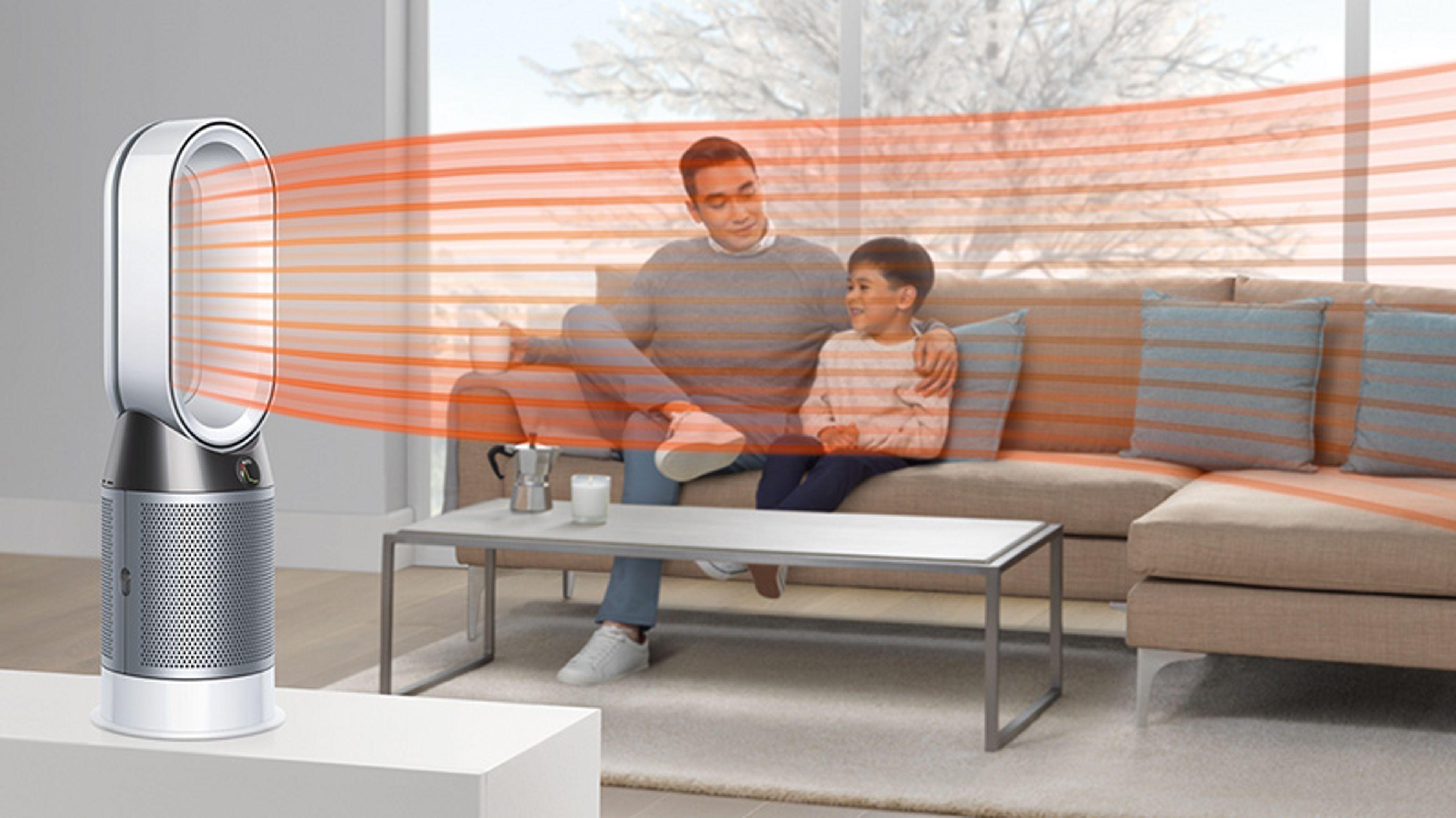 Dyson Pure Hot + Cool purifier fan heater heating living area