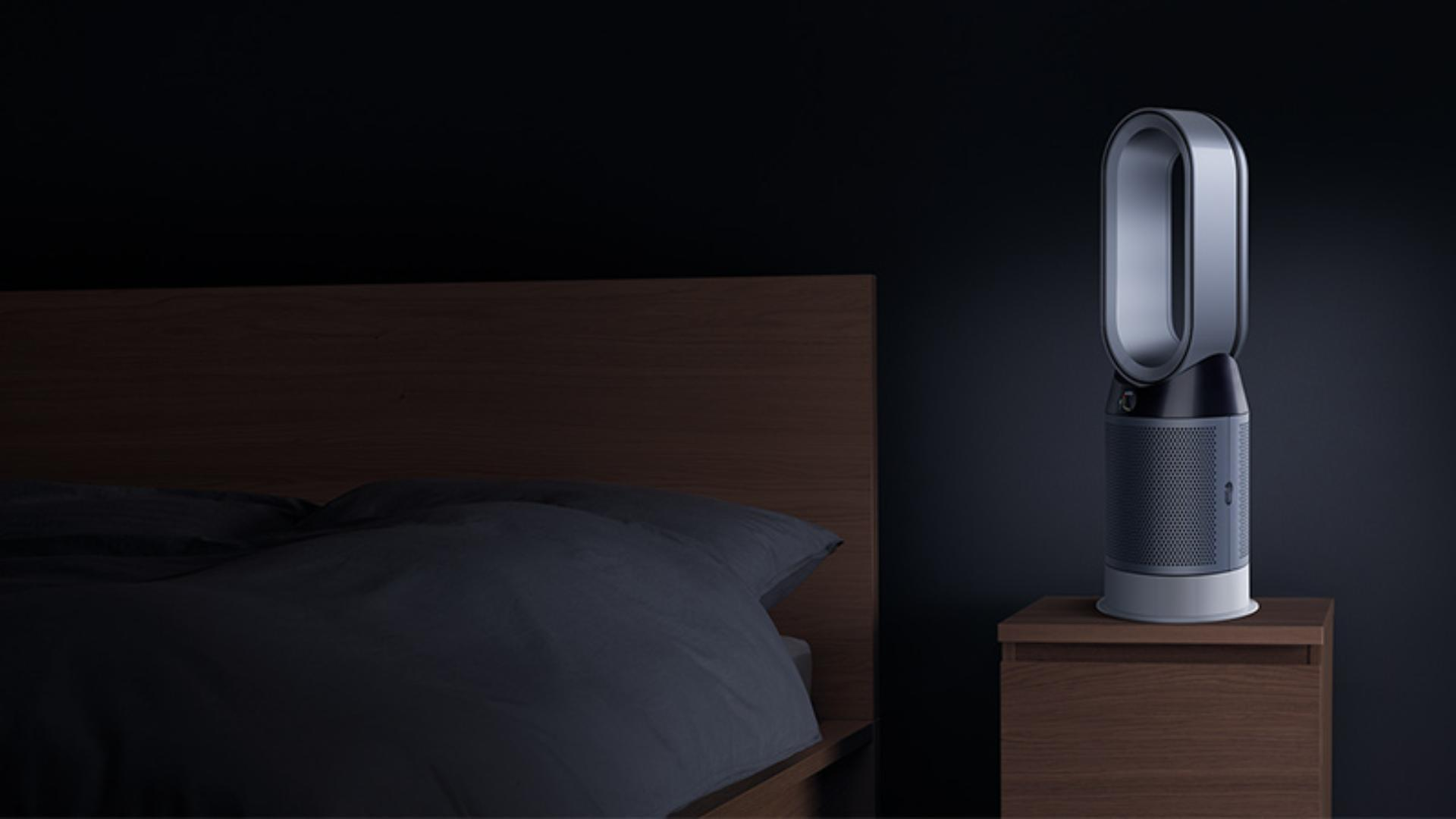 Dyson purifier on bedside table