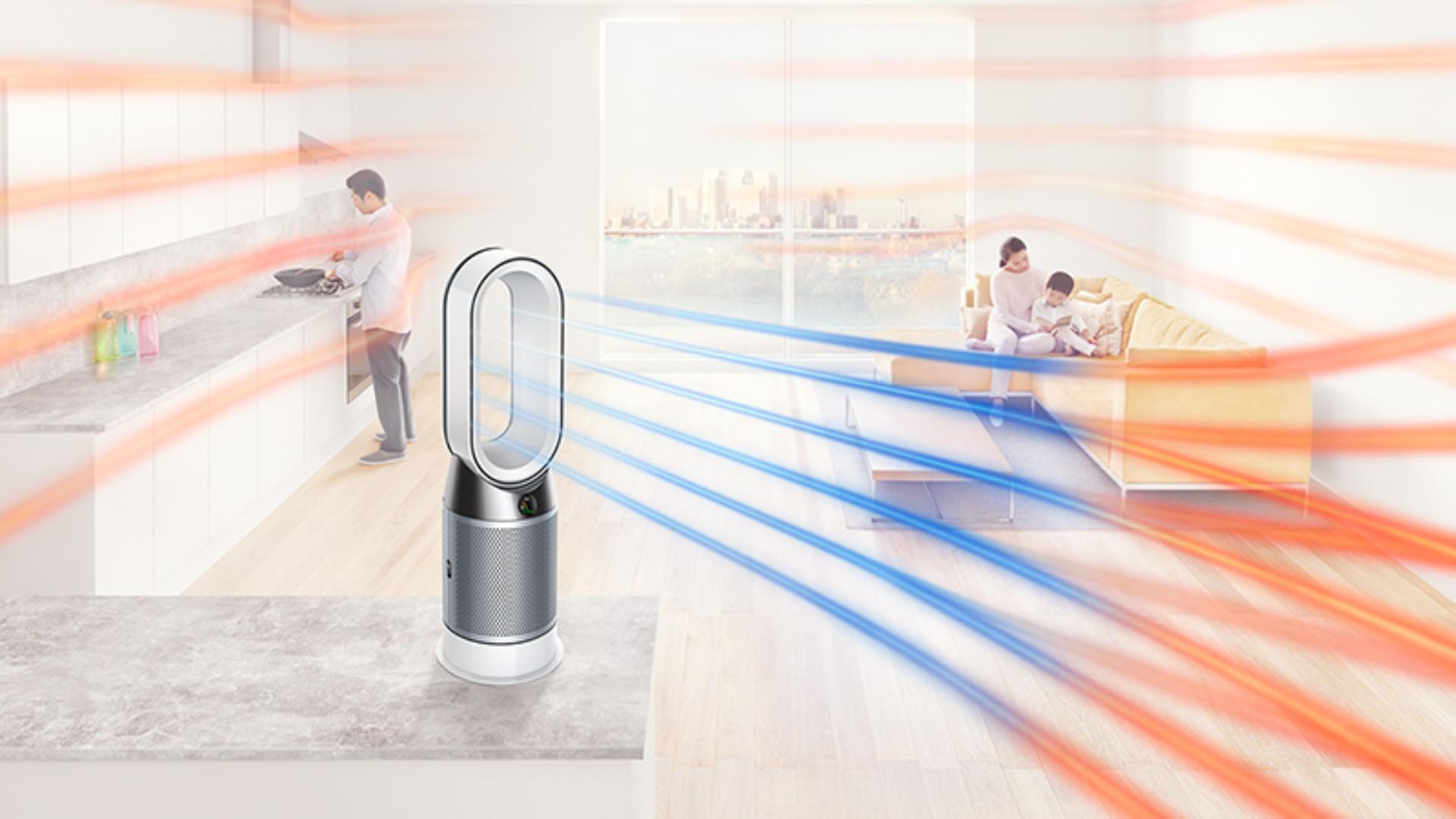 Dyson purifying fan circularing air around the room