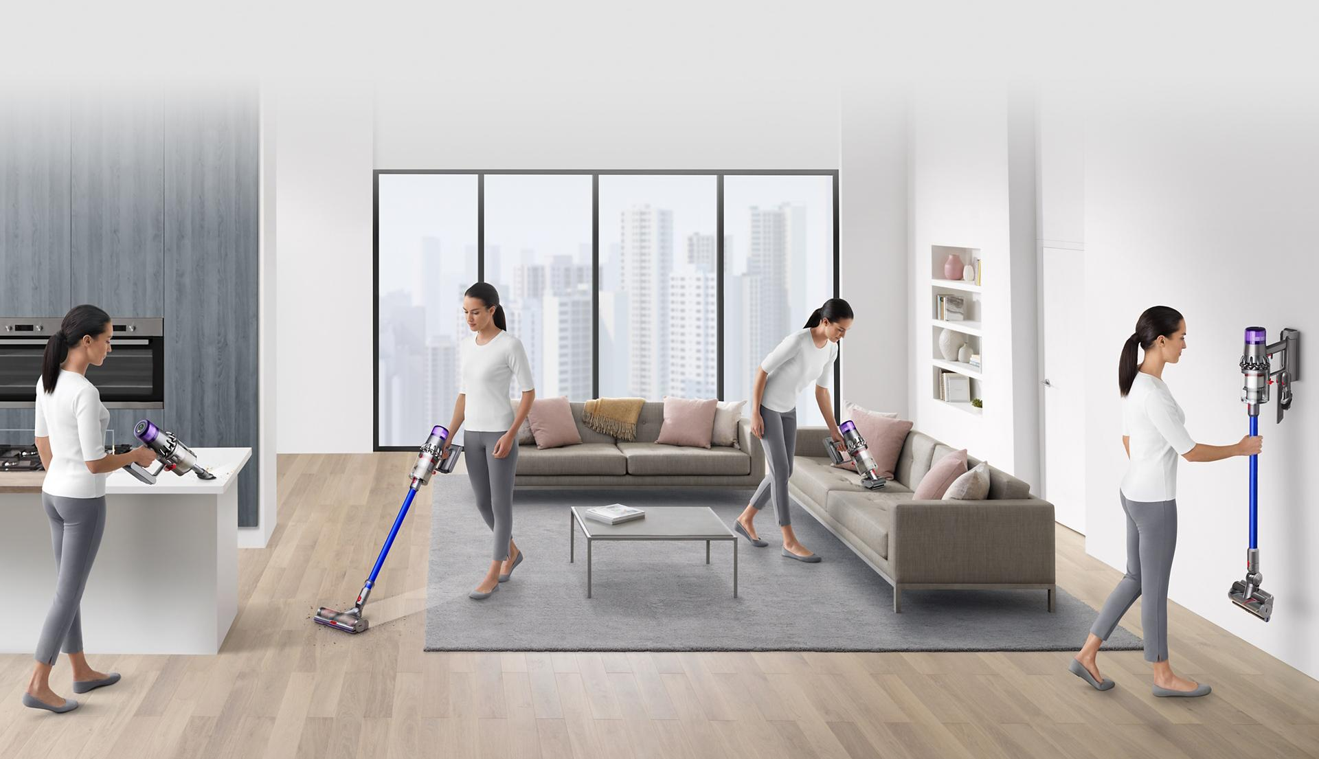 Women using Dyson V11 in home
