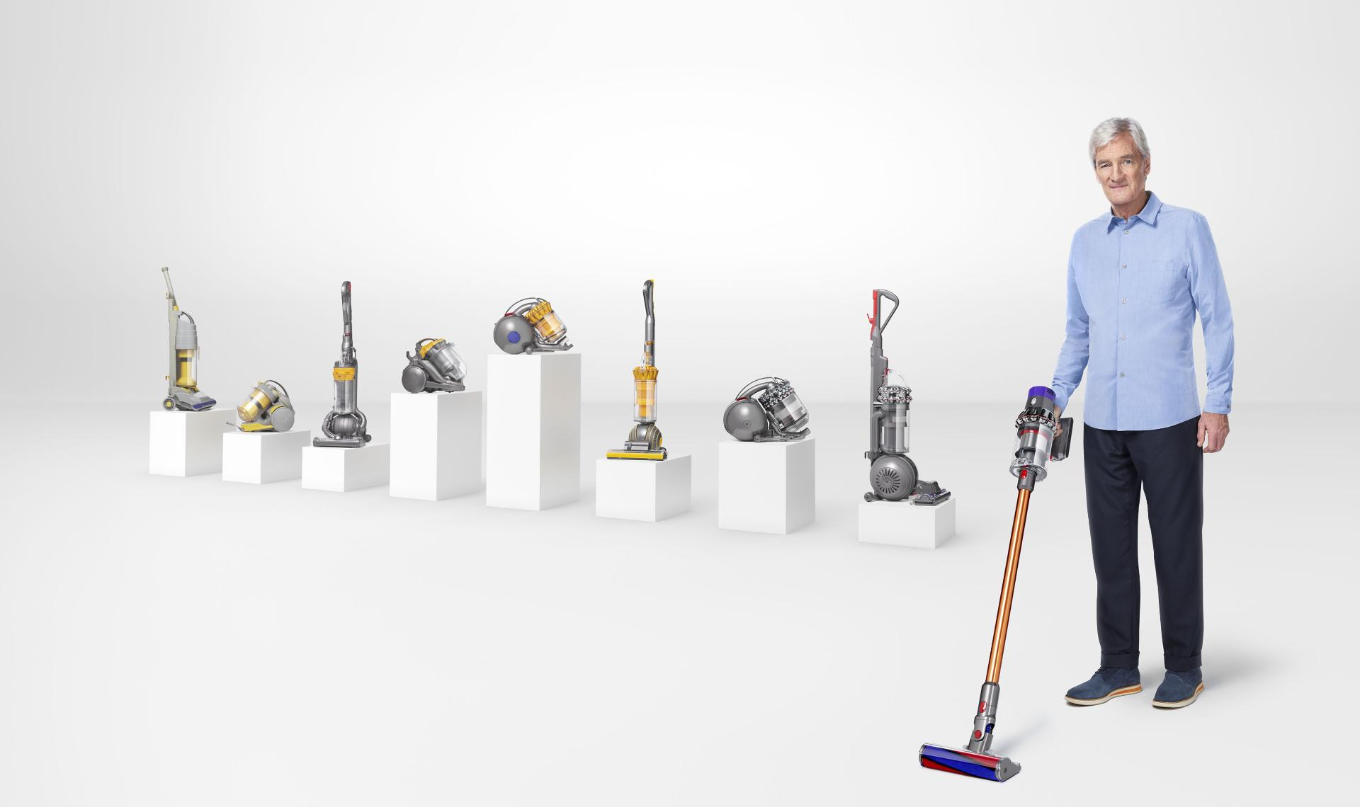 James Dyson with a range of Dyson vacuum cleaners