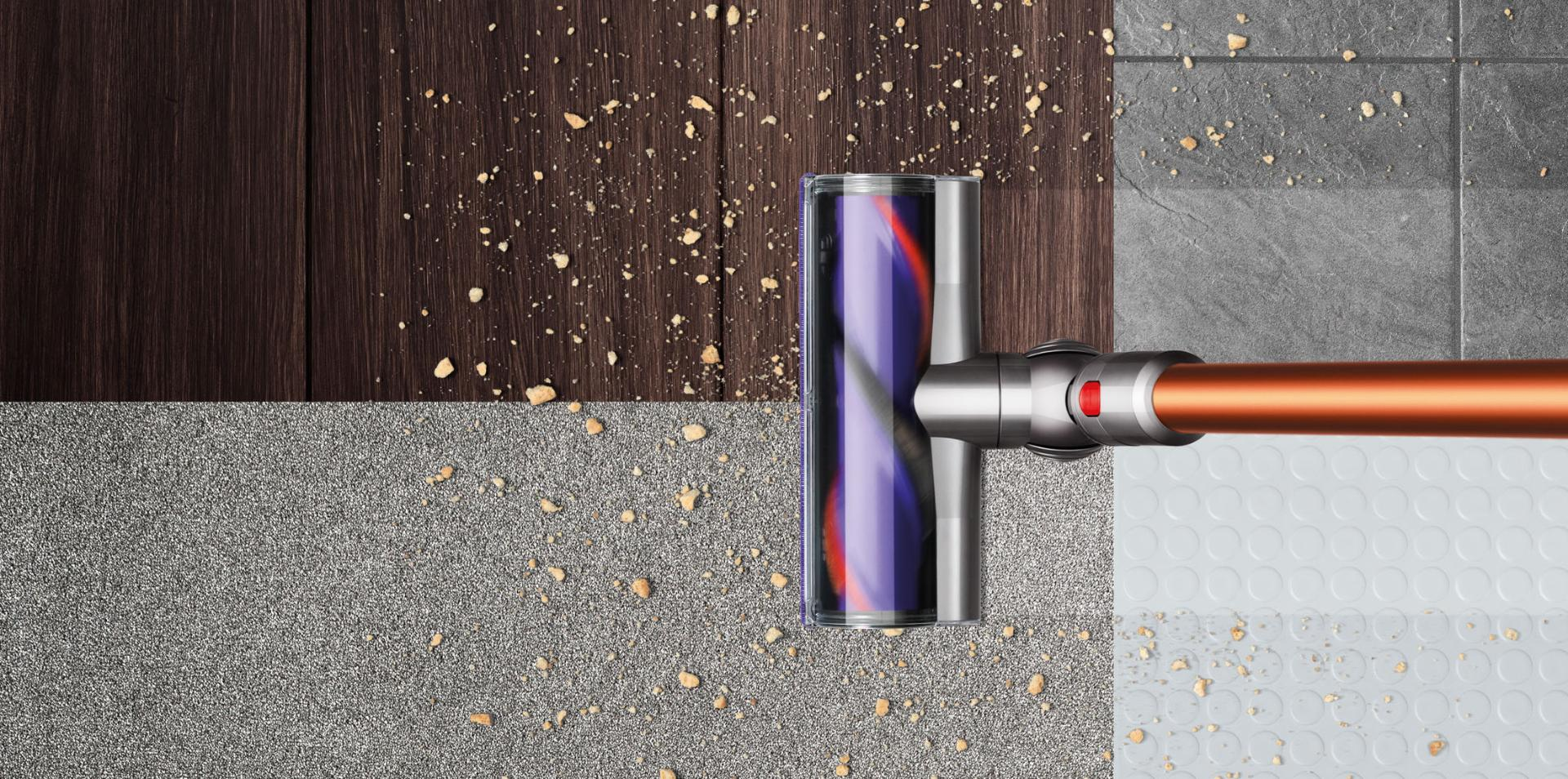 Dyson Cyclone V10™ vacuum cleaning four floor types