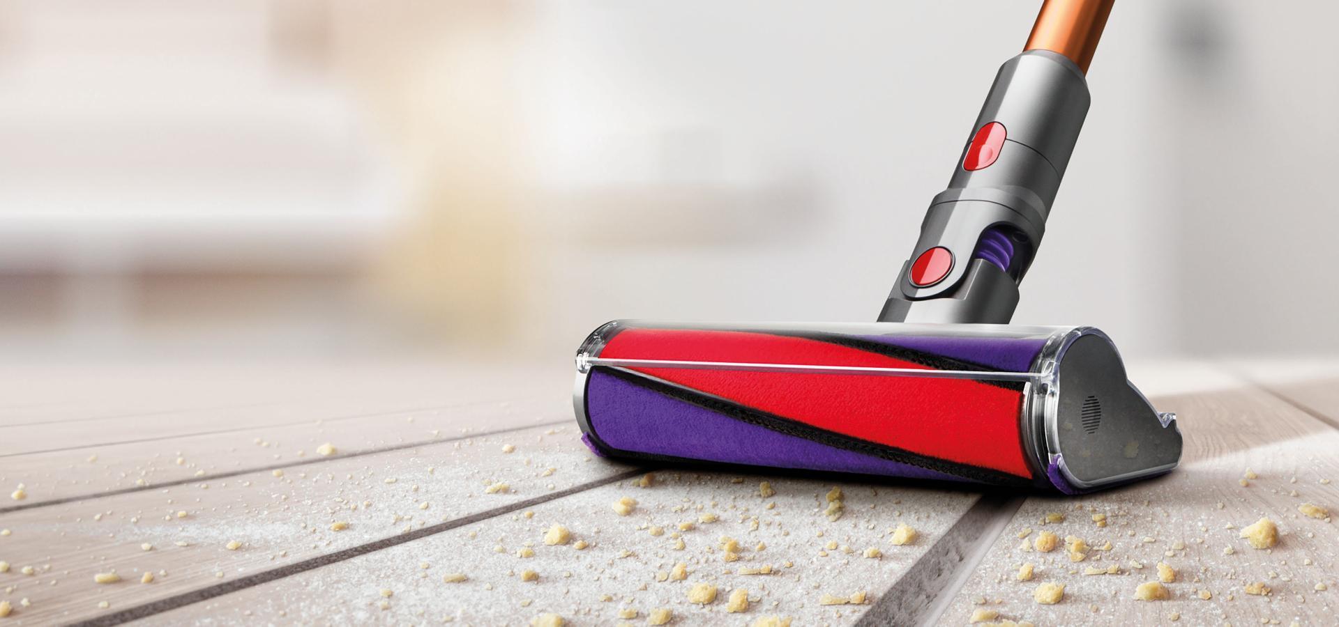 Soft roller cleaner head on hard floor