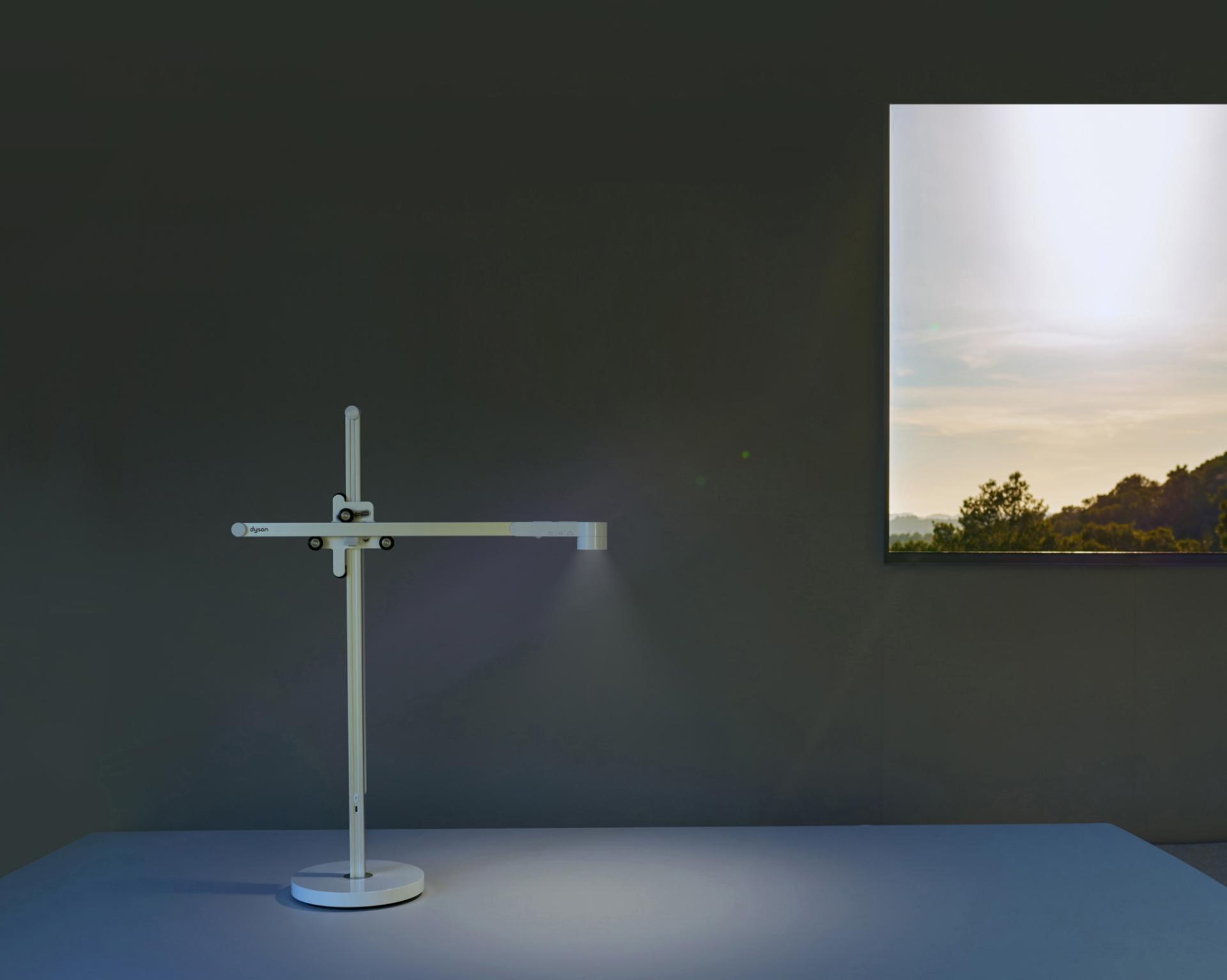 The Dyson Lightcycle? task light adjusting with daylight outside a window