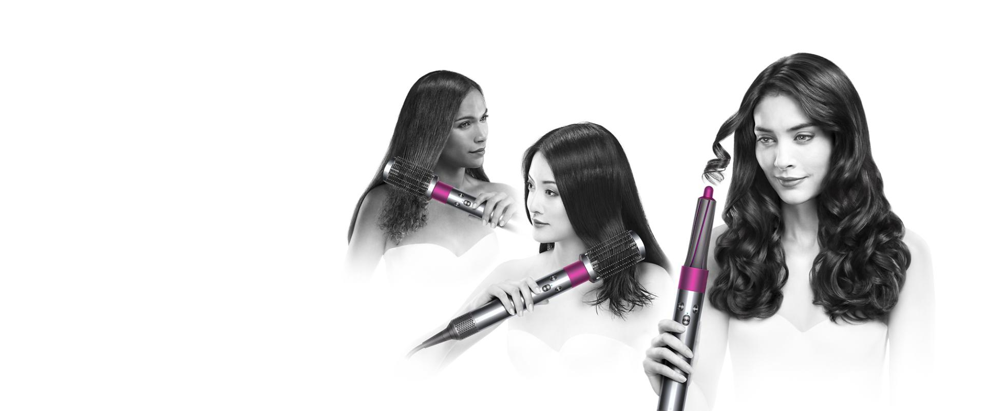 Three models using the dyson airwrap styler with different attachments