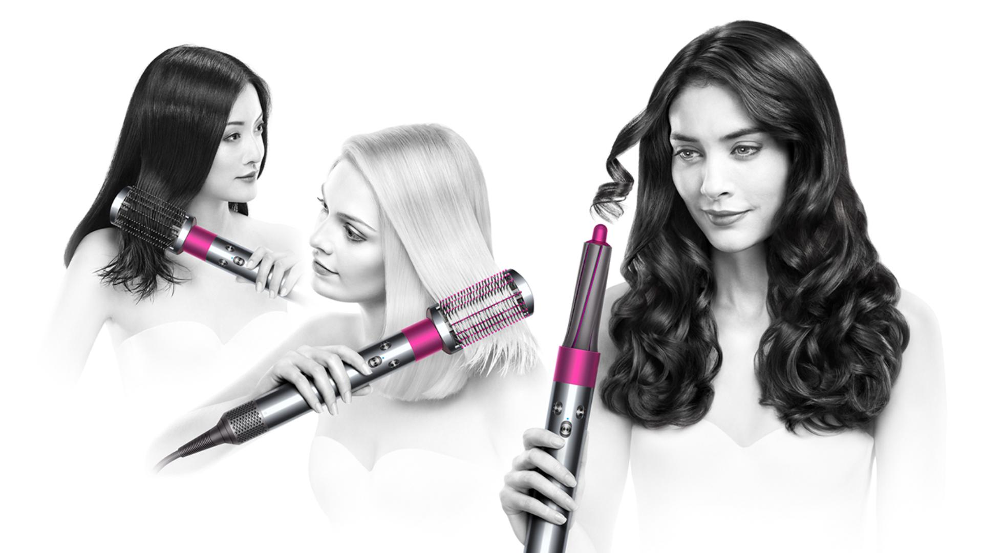 Two models using Dyson airwrap styler control with different attachments