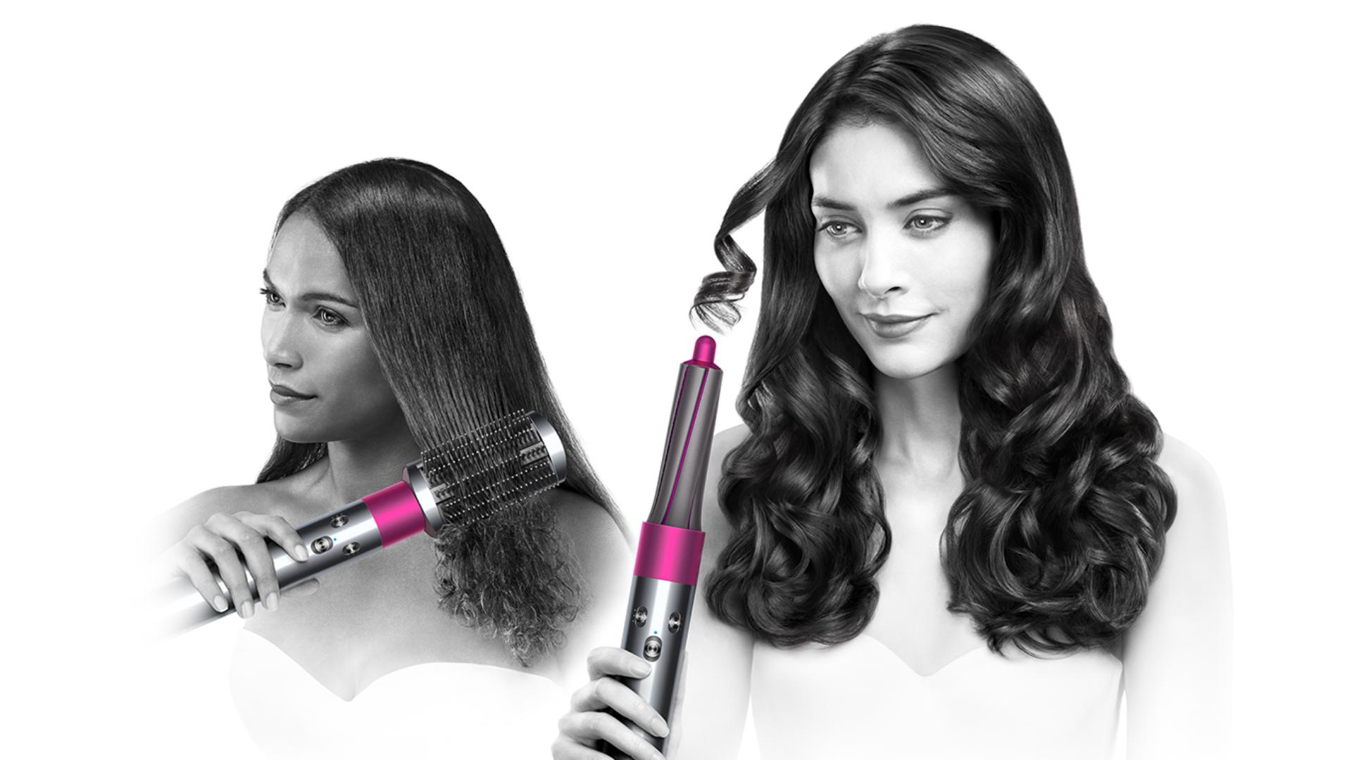 Two models using Dyson airwrap styler smooth and control with different attachments