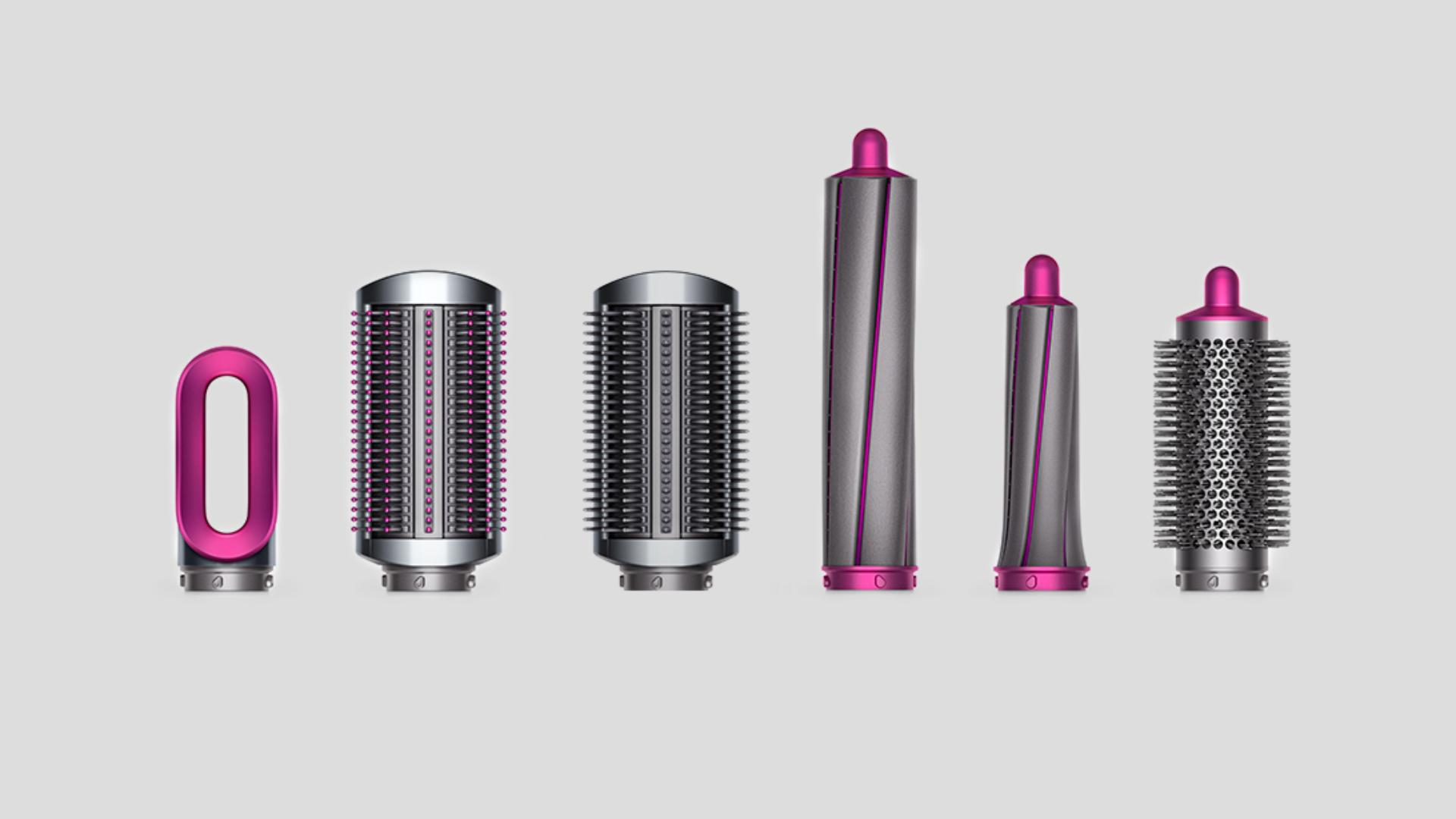Line up of Dyson Airwrap styler attachments