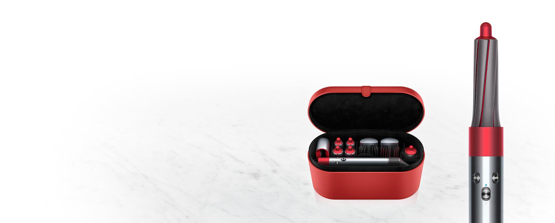 Dyson Airwrap styler curling and smoothing hair.