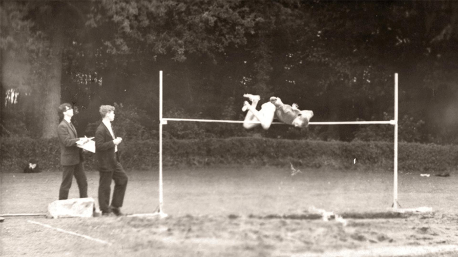 James Dyson captured mid-air above the high jump