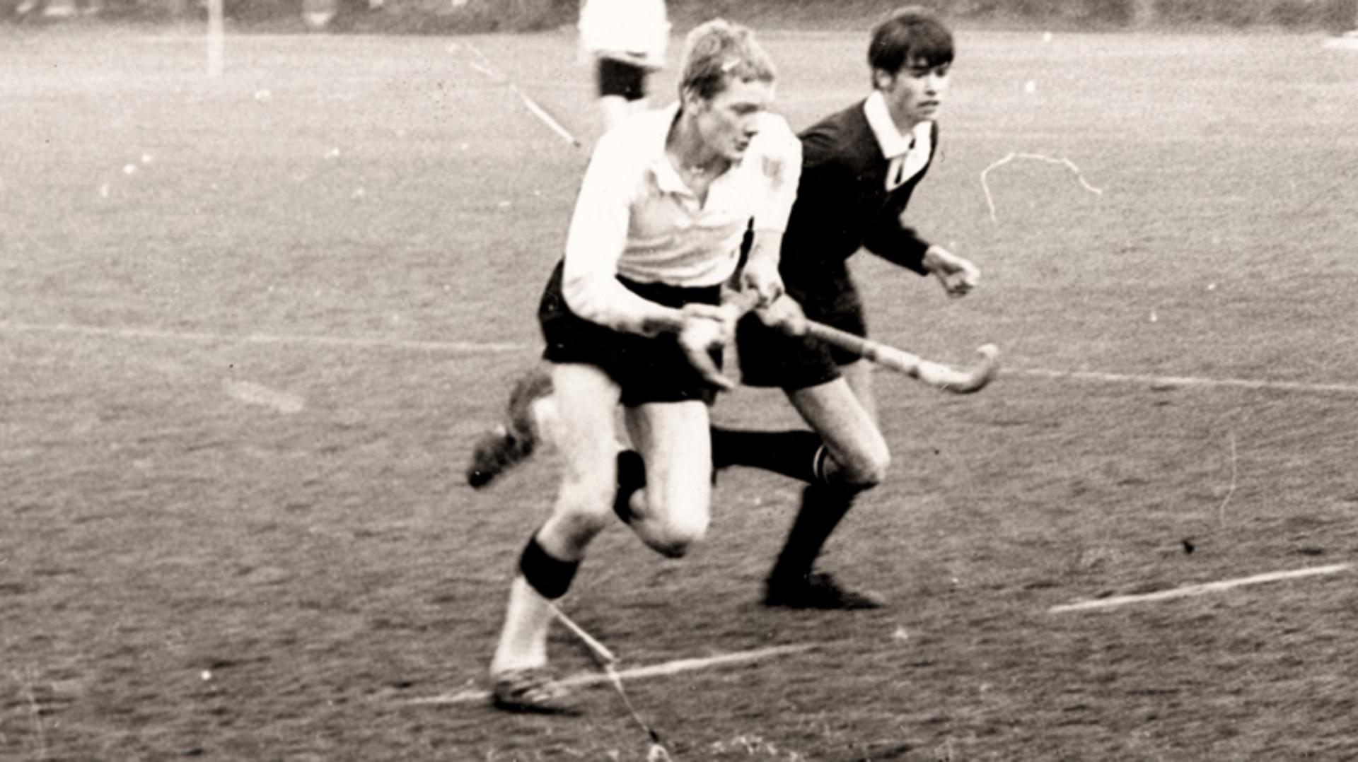 A teenage James Dyson playing hockey